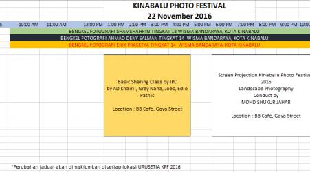 JADUAL KINABALU PHOTO FESTIVAL KPF2016